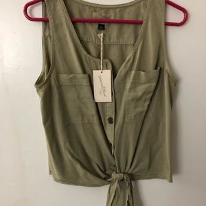 New with tags green tie up blouse size medium